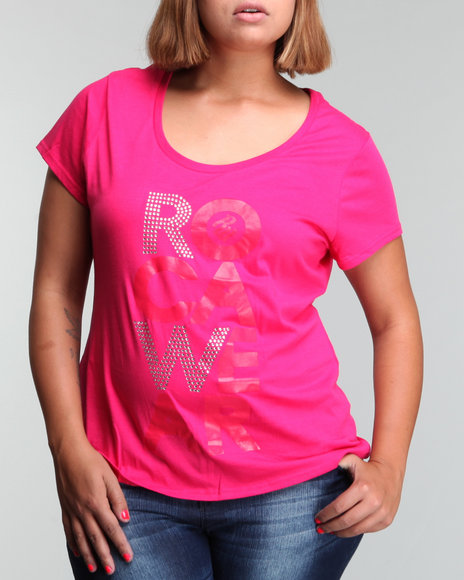 Rocawear Women Red Roca Stack Downlow Logo Tee (Plus Size)
