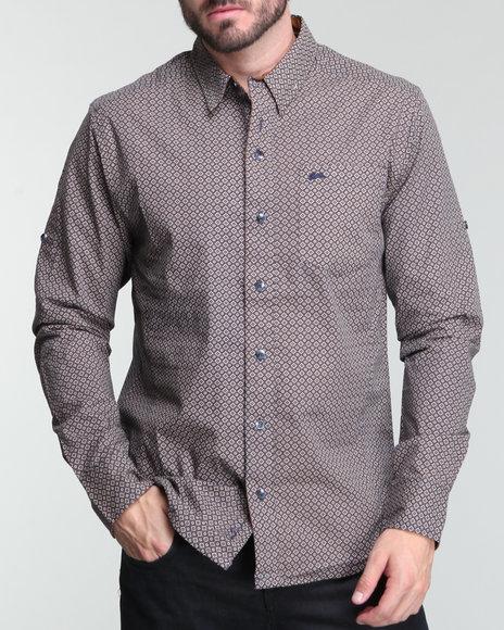 A Tiziano Men Navy Gabriel Geometric Diamond Print Shirt
