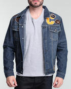 Buyers Picks - Sand washed denim jacket w/ patch detail