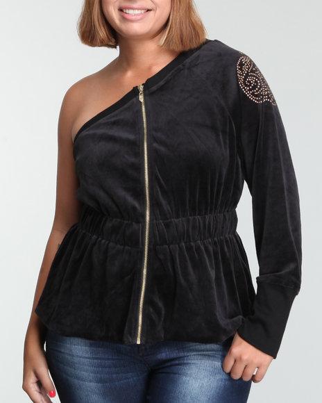 Apple Bottoms Women Black 1 Shoulder Zip Front L/S Velour Jckt (Plus Size)