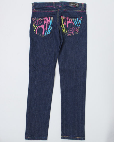 Akademiks Girls Dark Wash Zebra Jeans (7-16)