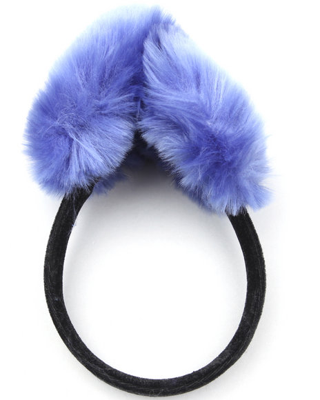 faux fur earmuffs w/velvet band