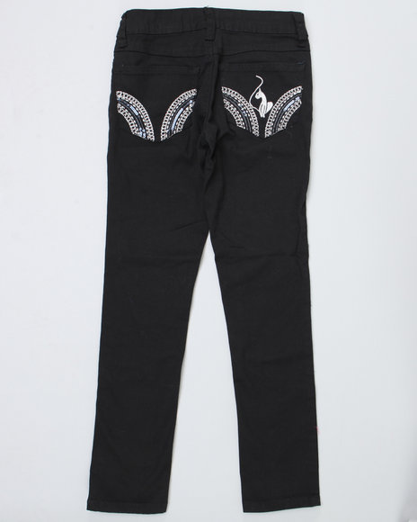 Baby Phat Girls Black Colored Twill Jeans (2T-4T)