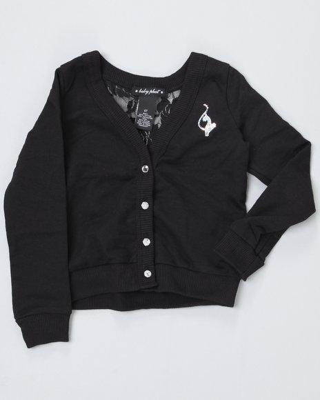 Baby Phat Girls Black Cardigan W/ Lace Back (4-6X)
