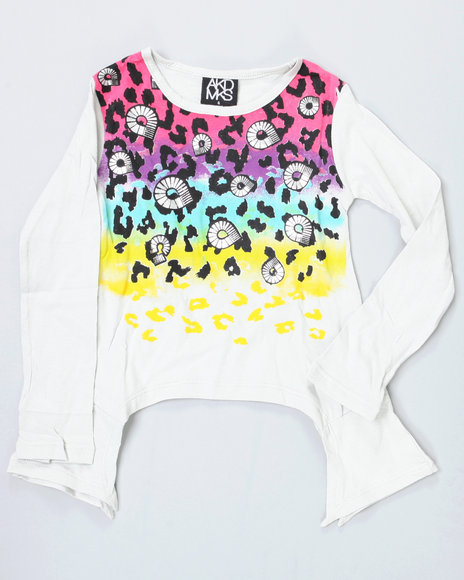 Akademiks Girls Grey Asymetrical Leopard Top (4-6X)
