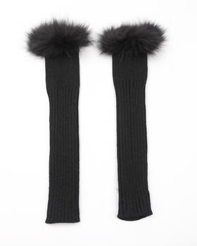 Fashion Lab - Fox Trim Fingerless Gloves