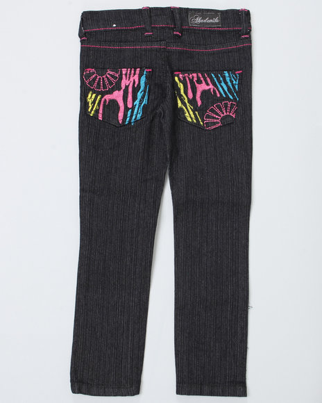 Akademiks Girls Black Zebra Jeans (7-16)