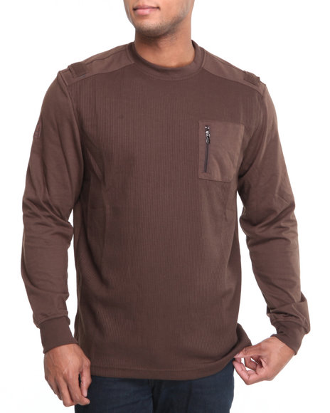 Mo7 Men Brown Crewneck Thermal