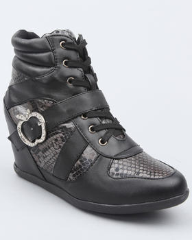 Apple Bottoms - Juno Buckle Animal Trim Wedge Sneaker