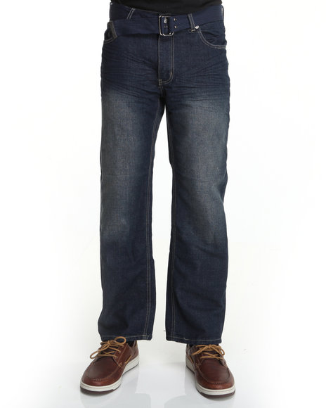 Basic Essentials Men Dark Wash Crest Belted Denim Jeans