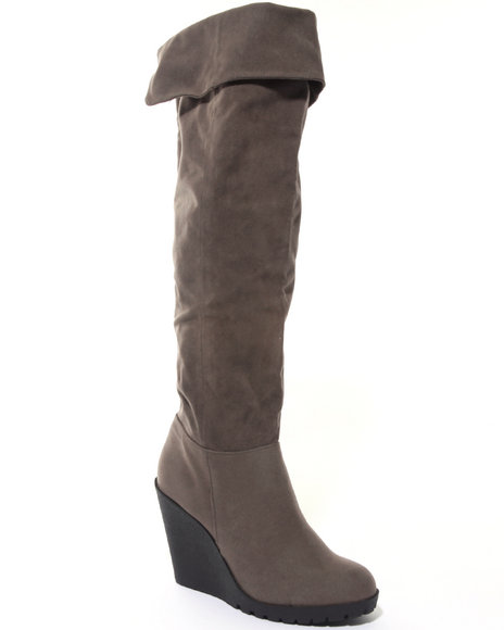 Fashion Lab Women Grey Alaina Tall Wedge Bootie