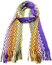 Women - Orange Zig Zag Scarf