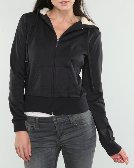 Basic Essentials Women Black Basic Hoodie Jacket
