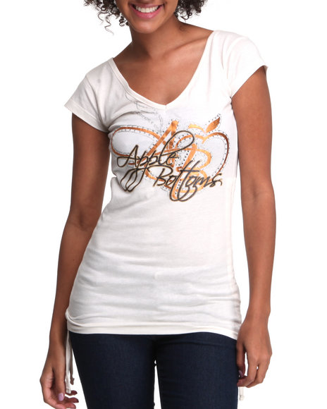 Apple Bottoms Women White Double V Side Rouched Logo Tee
