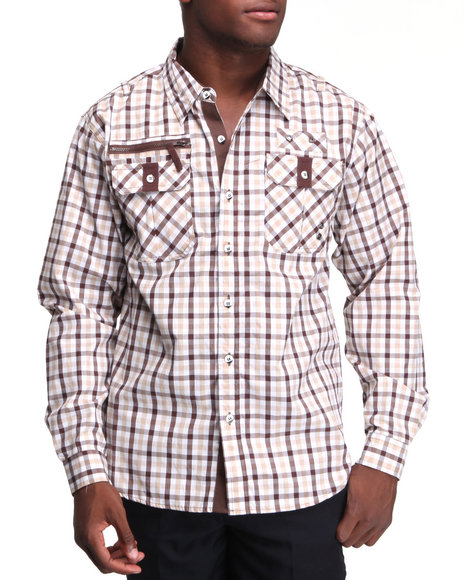 Basic Essentials Men Brown Gingham Check Woven Shirt