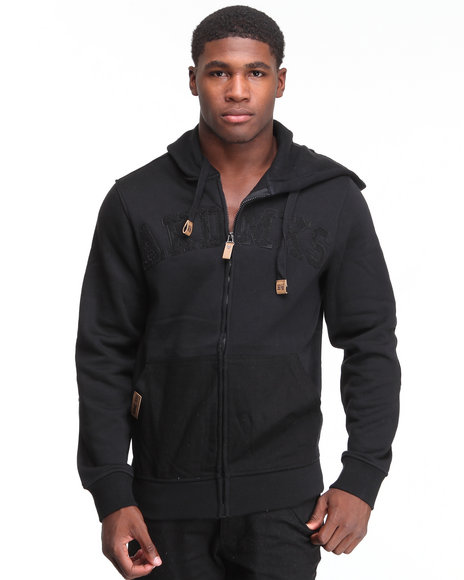 - Heavyweight Fleece Full Zip with Denim Detail
