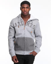 Hoodies & Track Jackets - Heavyweight Fleece Full Zip w/ Denim Detail
