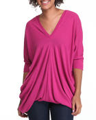 Sweaters - 3/4 Sleeve Vneck Draped Tunic