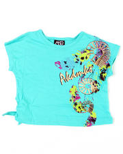 4-6X Little Girls - Feather Mess Side Tie Tee (4-6X)