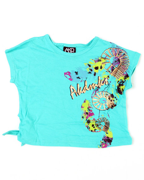 - Feather Mess Side Tie Tee (4-6X)