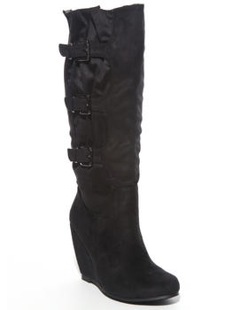 Two Lip Shoes - 3 Buckle Trim Microsuede Wedge Boot