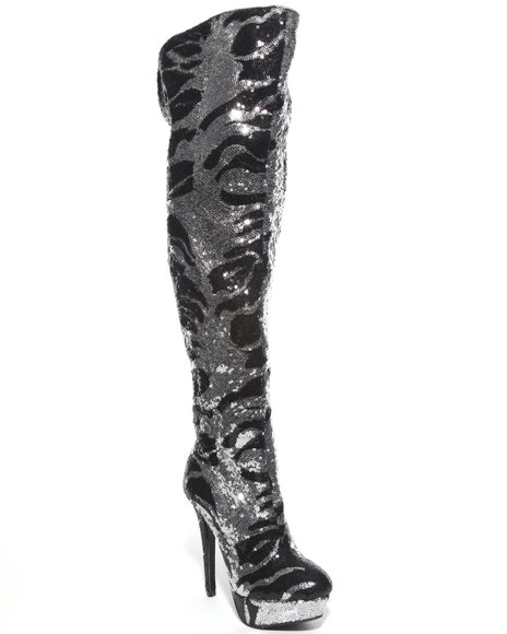 wild knee high sequin platform boot