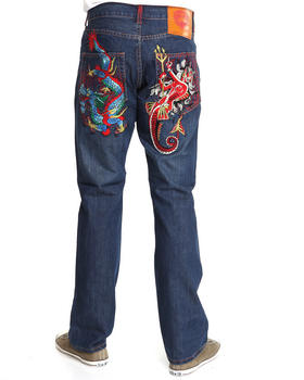 Ed Hardy - Dragon Vs. Mermaid Embroidered Denim Jeans