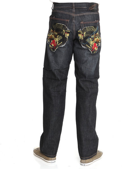 Ed Hardy Men Black Embroidered Panther Jeans