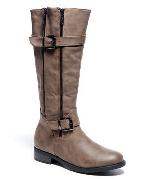 Two Lip Shoes - Buckle Trim Zip Side Boot