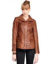 DJP OUTLET - Dynamite Distressed Leather Quilted Detail Jacket