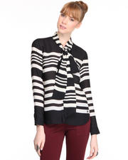 Tops - L/S Patin Striped Scarf Shirt