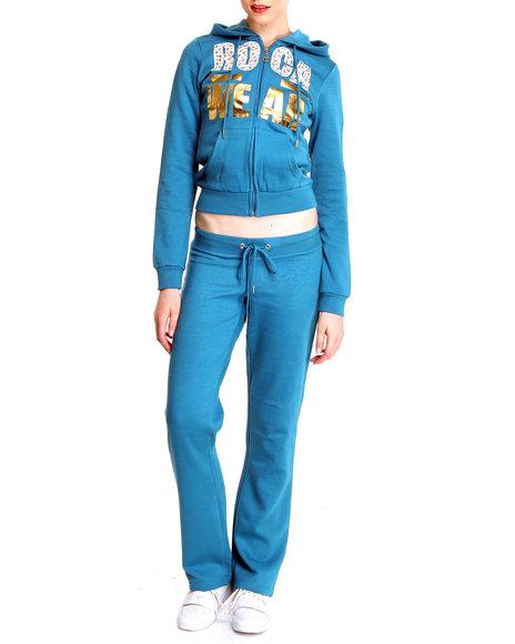 Rocawear Women Blue Black Anthem Fleece Set