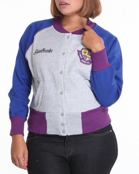 Ecko Red Women Grey Longsleeve Colorblock Varsity Fleece Jacket (Plus Size)
