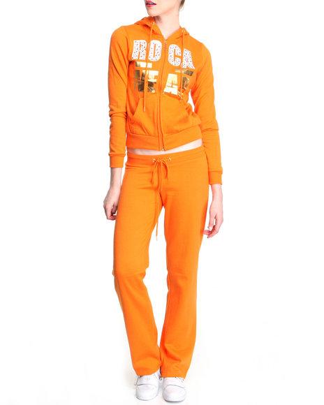 Rocawear Women Orange Black Anthem Fleece Set