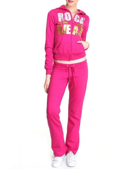 Rocawear Women Pink Black Anthem Fleece Set