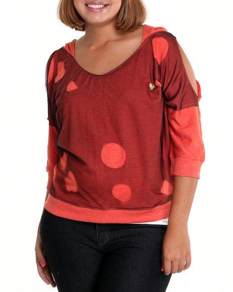Apple Bottoms Women Orange Mesh Hoodie (Plus Size)