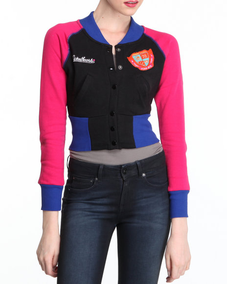 Ecko Red Women Black Longsleeve Colorblock Varsity Jacket Fleece