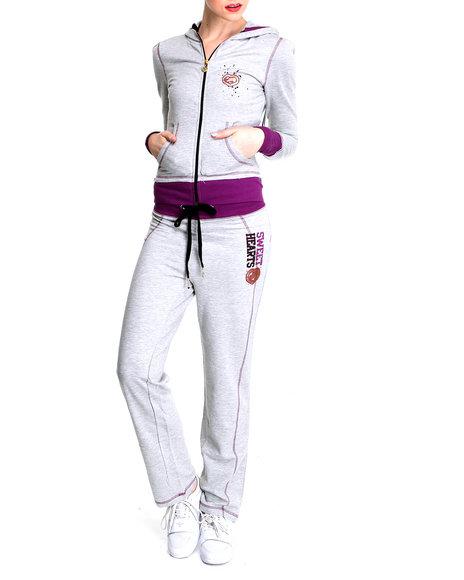 Ecko Red Women Grey Long Sleeve Active Hoodie Set
