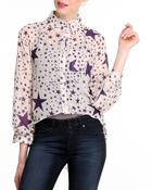 Polos & Button-Downs - Chiffon hi-low stars button-down