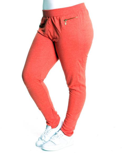 Apple Bottoms Women Orange Zip Pckts Banded Trim French Terry Pant (Plus Size)