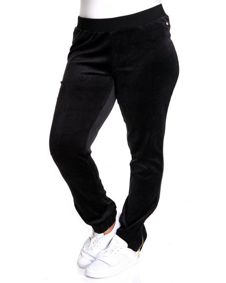 Apple Bottoms Women Black Apple Pocket Zipper Trim Velour Pant (Plus Size)