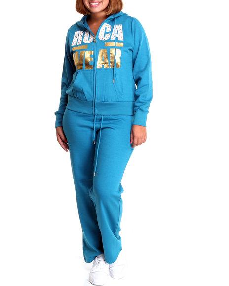 Rocawear Women Blue Bk Anthem Fleece Set (Plus Size)