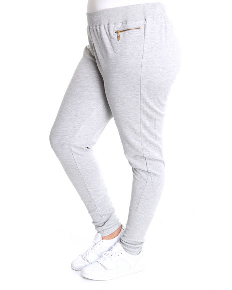 Apple Bottoms Women Grey Zip Pckts Banded Trim French Terry Pant (Plus Size)