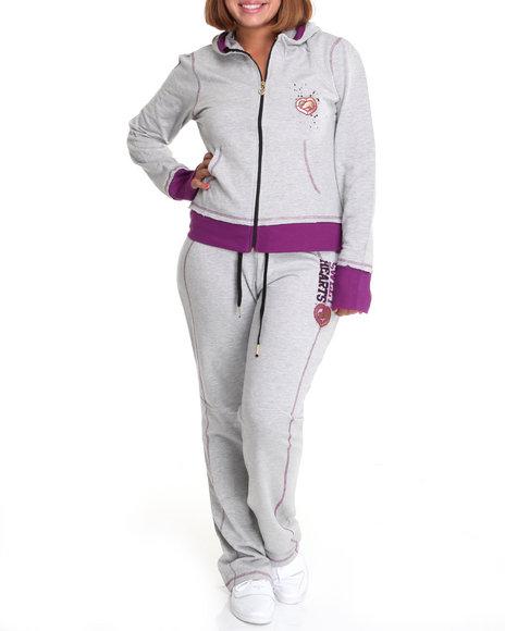 Ecko Red Women Grey Long Sleeve Active Hoodie Set (Plus Size)