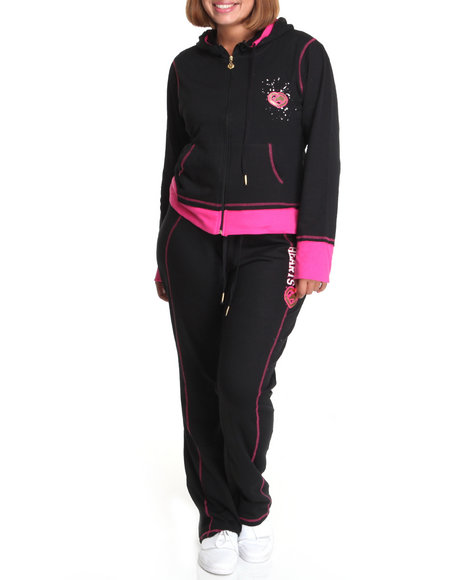 Ecko Red Women Black Long Sleeve Active Hoodie Set (Plus Size)