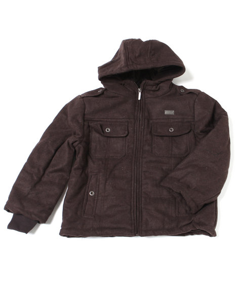 Mecca Boys Dark Brown Zero Point Hoody Jacket (8-20)