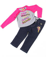 Newborn - 2 piece Ruched Top and Denim Set (NB)