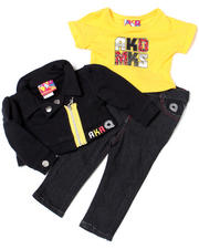 Girls - 3-piece French Terry Jacket, Knit Top and Pant Set (NB)