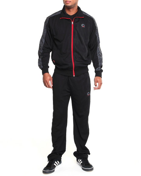 Akademiks Men Black Track & Field Signature Tracksuit Set