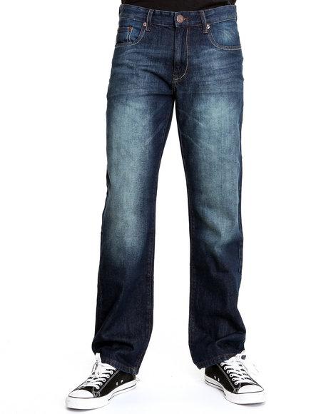 Akademiks Men Dark Wash Victor Sandblasted Slim/Straight Fit Denim Jeans